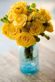 yellow roses in a blue mason jarsimply beautiful table centerpiece for weddings beautiful classic mason jar