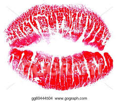 red lips kiss print stock clipart