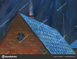 moonlight night village roof house chimney goes smoke oil painting stock photo