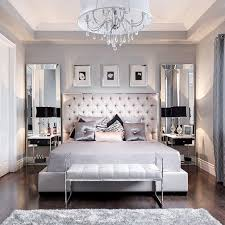 Beautiful Bedroom Decor | Tufted Grey Headboard | Mirrored Furniture