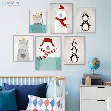 kawaii cartoon animals polar bear hippo poster prints nordic kids baby room wall art picture home on baby room wall art painting with kawaii cartoon animals polar bear hippo poster prints nordic kids