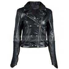 womens black quilted leather biker jacket zoom womens
