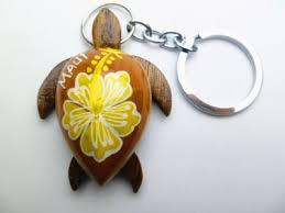 2 yellow hibiscus flower painted wood turtle keychain wording