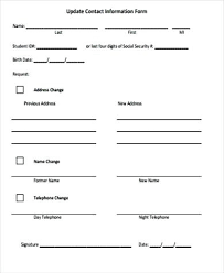 Sample Contact Information Form Examples In Word Sheet