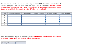 How To Build An Amortization Schedule Solved Prepare An Amortization Schedule For A Five Year L