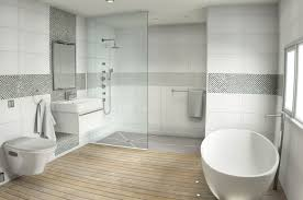 delicate oval freestanding bathtub with floating toilet and vanity inside bathroom mosaic tile ideas
