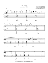 At Last By Etta James Piano Sheet Music Intermediate Level
