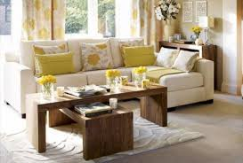 ... Living Room, Small Living Room Decorating Ideas With Wooden Table And  White Sofa And Cushion ...