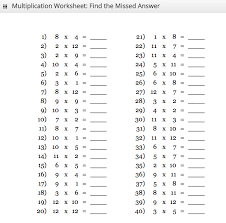 1 To 25 Times Tables
