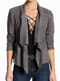 gray dd open front women s size 8 leather jacket alternate view 1