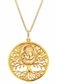tree of life pendant with madonna and child icon silver 925 gold loading zoom