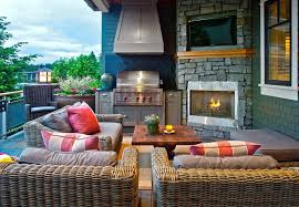 seattle outdoor fireplace grill with traditional string lights patio and dining white window trim