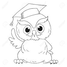 cartoon character graduation owl for coloring book stock vector 57109507