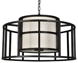 hulton 5 light chandelier in matte black with fabric drum shade