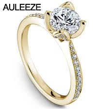 Flower Design Diamond Ring Us 516 0 Flower Design Lab Grown Diamond Wedding Rings 1ct Moissanites Engagement Ring Solid 14k Yellow Gold Rings Valentines Day Gifts In Rings