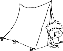 Small Picture Kid Just Wake Up from Camping Tent Colouring Page Colouring Tube
