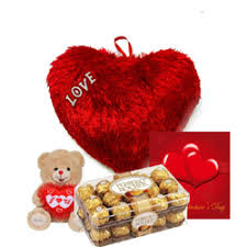 card teddy with 6 to 8 inches valentine heart and 16 ferrero chocolates