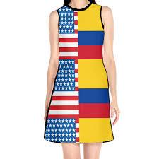 Ada Kgh Womens American Colombia Flag Sleeveless O Neck