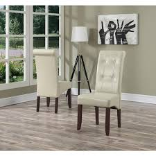 cosmopolitan satin cream faux leather parsons dining chair set of 2