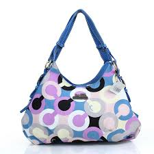 Coach Fashion Signature Medium Blue Shoulder Bags DZI