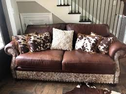 like new cowhide real leather couch