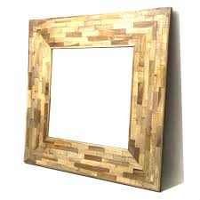 artistic timber wood wall mirror parquetry square frame large size 90cm