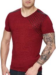 Affliction T Shirt Size Chart K D Men Corner Stars Faux Leather Band V Neck T Shirt Red