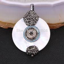 3pcs zyz181 9112 large mother of pearl shell pendant with rhinestone paved cz zirconia