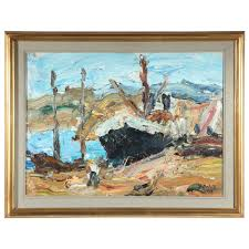 abstract deep oil painting of ship scene in gold frame for