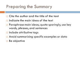 summary response essay ppt video online  preparing the summary cite the author and the title of the text