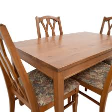 83 Off Wood Kitchen Table And Floral Upholstered Chairs Wrought Iron