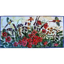 mosaic x27 floral garden birds x27 18 tile ceramic wall on wall art tiles canada with shop mosaic floral garden birds 18 tile ceramic wall mural art