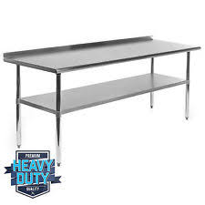 stainless kitchen work table: stainless steel commercial kitchen work prep table with backsplash
