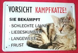 Blechschild 20x30 Vorsicht Kampfkatze Lustiger Spruch Tiere Katze