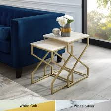 jamie end table or coffee table natural marble top stackable metal x