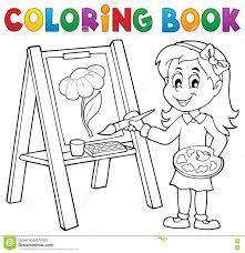 Peinture De Fille De Livre De Coloriage Sur La Toile Illustration