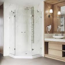 neo angle shower enclosure in brushed