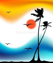 tropical sunset palm tree silhouette stock vector ilration of heat painting
