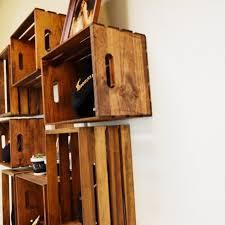 wood crates wall shelves