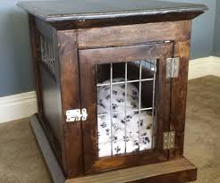 kennel coffee table large wood dog crate end table with log post by