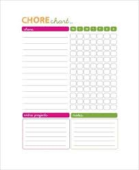 Blank Chore Chart Pdf World Of Printable And Chart For