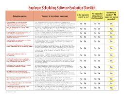 Sample Software Evaluation software evaluation matrix Employee Scheduling Software Evaluation 1