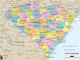 detailed political map of south carolina  ezilon maps