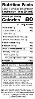 silk organic unsweetened soymilk nutrition label