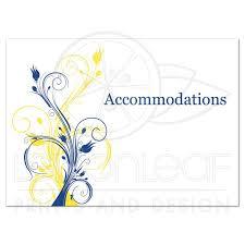 Wedding Enclosure Card Insert Royal Blue Yellow White Floral
