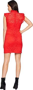 Alexia Admor Womens Cap Sleeve Lace Sheath Fiery Red Large