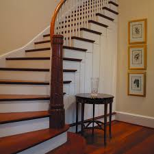 Astounding Spiral Staircase Design With Wooden Step Ladder As Well As Wooden  Handle And White Banister Rail Stair Added Rounded Wood Also Portray Wall  ...