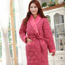 Online Buy Wholesale quilted robe thick long from China quilted ... & Winter bathrobes long-sleeve cotton nightie female pajamas quilted jacket  women long robe thick velvet Adamdwight.com