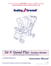 baby trend sit n stand plus 1107 user manual 9 pages also for