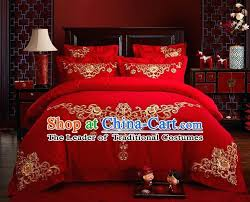 dragon bedroom set traditional style wedding bedding set china national marriage embroidery red textile bedding sheet